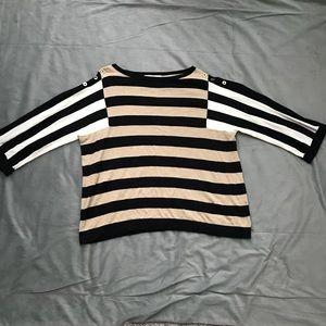 Jones New York Black Tan White Sweater EUC Size M